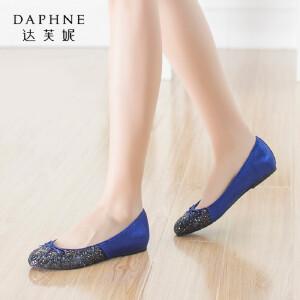 Daphne/达芙妮秋季时尚女鞋 蝴蝶结亮片平底拼色舒适休闲单鞋