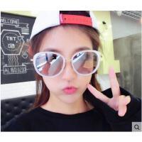新品时尚彩膜墨镜太阳镜蝴蝶墨镜女士 韩版大框黑超反光户外太阳眼镜