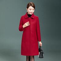 中老年女装毛呢外套40-50岁中长款羊毛妮中年人妈妈秋冬呢子大衣