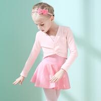 儿童舞蹈服冬季长袖女童练功服套装加绒加厚小女孩芭蕾舞裙舞蹈衣