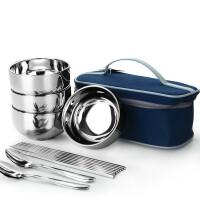 户外旅行提包野餐防水布袋便携人12件筷勺子不锈钢餐具套装 便携不锈钢餐具包