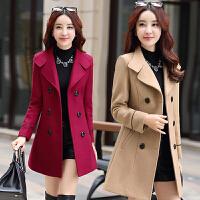 冬季女装30-35-40岁中年妈妈休闲宽松中长款英伦风毛呢子大衣外套