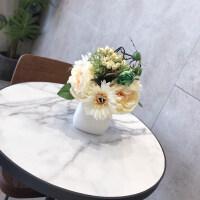 仿真花假花绢花玫瑰套装样板房摆件客厅餐桌陶瓷花艺摆设软装饰品 小