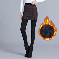 秋冬带裙打底裤女外穿保暖假两件裙裤加绒加厚踩脚长裤毛呢包臀裤