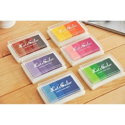 6个装 韩国文具 渐变色印台6色多彩彩色印泥 儿童DIY印章伴侣 DIY印章伴侣 多彩彩色印泥