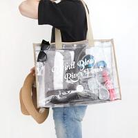 沙滩包透明防水包大容量韩国果冻包游泳收纳袋旅行手提袋 均码