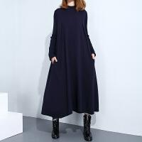 大码女装秋季宽松针织打底衫长裙女半高领时尚气质胖MM毛衣连衣裙 均码