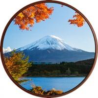 走道壁画现代简约风景画圆形挂画富士山风景玄关壁画走廊过道日式客厅挂画 直径 70