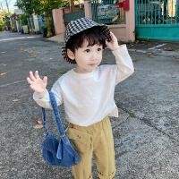 男童长袖t恤小童打底衫儿童春装白色宝宝薄款