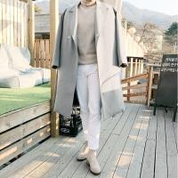 毛呢大衣男韩版中长款毛呢冬季外套双排扣黑色羊毛呢子大衣男士 (加棉)