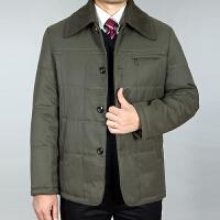 冬装新款中老年爸爸装棉衣男翻领加厚中年男士可脱卸领外套男
