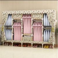 简易实木牛津布衣柜加固衣柜组装布艺简约实用宿舍衣柜升级加固 2门