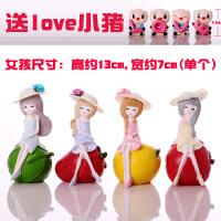 简约现代家居摆饰新家饰品客厅树脂工艺品女孩人物小摆件可爱套装 水果女孩(四个)+love小