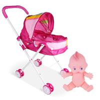 儿童玩具女孩过家家带娃娃小推车套装女童仿真婴儿宝宝手推车礼物 彩虹车+洋葱头男娃 送奶瓶