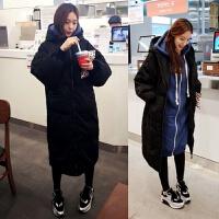 冬季韩版女装棉袄长款过膝宽松大码羽绒棉衣外套面包服学生潮 黑色