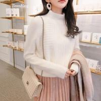 打底针织衫女新款韩版时尚修身半高领内搭毛衣女学生 米白 均码