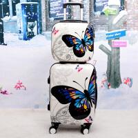 七夕礼物卡通蝴蝶学生女旅行箱子母箱包万向飞机轮拉杆箱子儿童20/寸