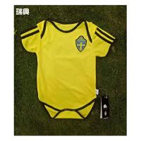 2018世界杯瑞典队足球服BB装 婴儿连体装 婴儿足球服 宝宝国家队足球服 红色