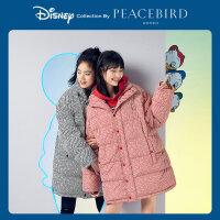 【迪士尼联名】 太平鸟中长款羽绒服女2019新款面包服立领白鸭绒