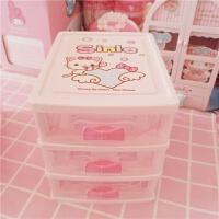 粉色猫咪蝴蝶结抽屉桌面收纳盒 三层塑料桌面文具化妆品收纳盒
