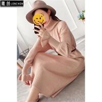 长款毛衣裙女过膝花瓣袖秋冬打底针织衫百搭长袖新款韩版长袖 均码