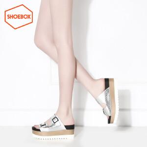 达芙妮旗下鞋柜/苹绮夏款休闲拼色厚底凉鞋性感侧空坡跟高跟女鞋