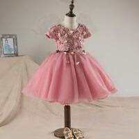 儿童婚纱礼服生日表演圣诞节礼服 冬新款女童礼服 圣诞节花童礼服秋 粉红色