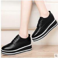 古奇天伦新款韩版英伦风小皮鞋内增高单鞋松糕鞋女厚底布洛克女鞋春季DGT8595
