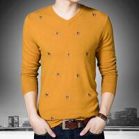 冬季新款男士保暖V领套头青年纯羊毛针织衫时尚修身打底衫外套潮