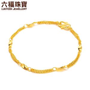 六福珠宝 足金片片真情双层女款黄金手链   B01TBGB0007
