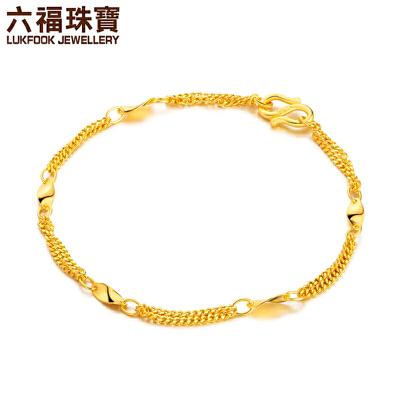 六福珠宝 足金片片真情双层女款黄金手链   B01TBGB0007支持使用礼品卡