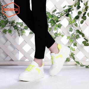 SHOEBOX/鞋柜春季新款潮韩版中跟女鞋休闲系带板鞋
