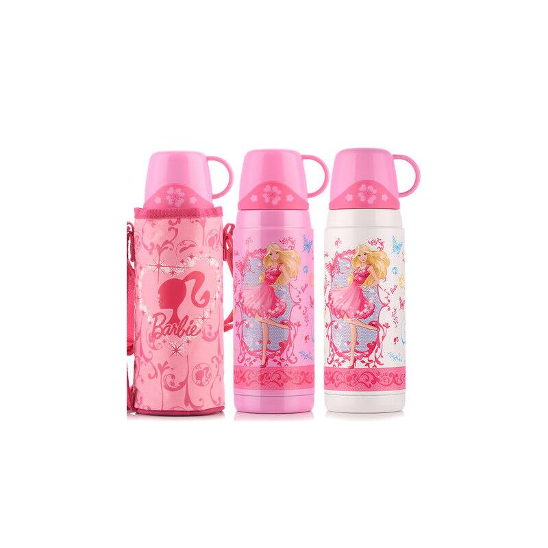 迪士尼保温杯女学生水杯不锈钢水瓶600ml 芭比杯子宝宝水壶男儿童保温壶