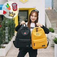 初中高中学生书包女韩版校园可爱学院风简约大容量背包帆布双肩包