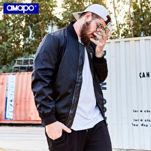 【限时抢购到手价:150元】AMAPO潮牌大码男装胖子肥佬加肥加大码宽松黑色棒球服夹克外套男