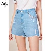Lily2019夏新款女装可脱卸链条破洞A字修身休闲全棉牛仔短裤5916