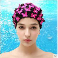 新款女时尚舒适布泳帽 成人加大不勒头长发护耳游褶皱泳帽