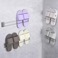 拖鞋架浴室免打孔简易门后不锈钢收纳架壁挂式卫生间拖鞋挂