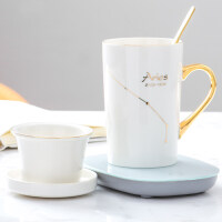 创意55度恒温暖暖杯马克杯陶瓷水杯过滤泡茶杯子情侣咖啡杯带盖勺