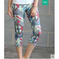 百搭气质紧身印花弹力速干七分裤健身瑜伽裤显瘦女跑步运动健身服