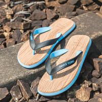 人字拖男士夏季休闲木纹凉拖鞋男平跟夹脚凉鞋沙滩鞋潮