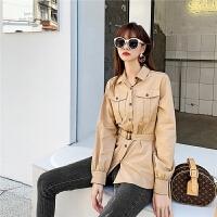 七格格衬衫女长袖2019新款冬季韩版中长款宽松百搭洋气外穿上衣潮