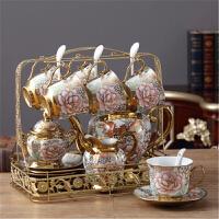 七夕礼物 欧式创意家居装饰品奢华茶几摆设陶瓷摆件客厅电视柜酒柜结婚礼物 16件套玫瑰花金花茶具摆件
