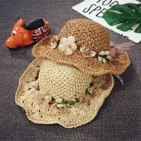 儿童遮阳帽防晒太阳帽女夏天可折叠大沿帽花环沙滩帽度假宝宝草帽