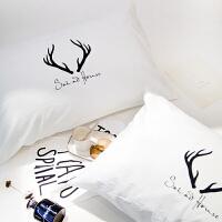 家纺北欧时尚纯色单人枕套两只装水洗棉枕头套子床上用品一对 48cmX74cm