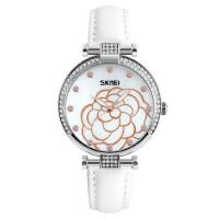 时尚水钻女士手表防水石英皮带腕表茶花款女学生指针时装表