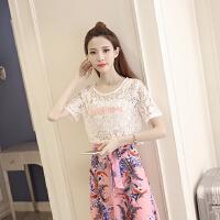 2017春季新款时尚气质小香风蕾丝刺绣甜美高腰雪纺鱼尾中长裙套装