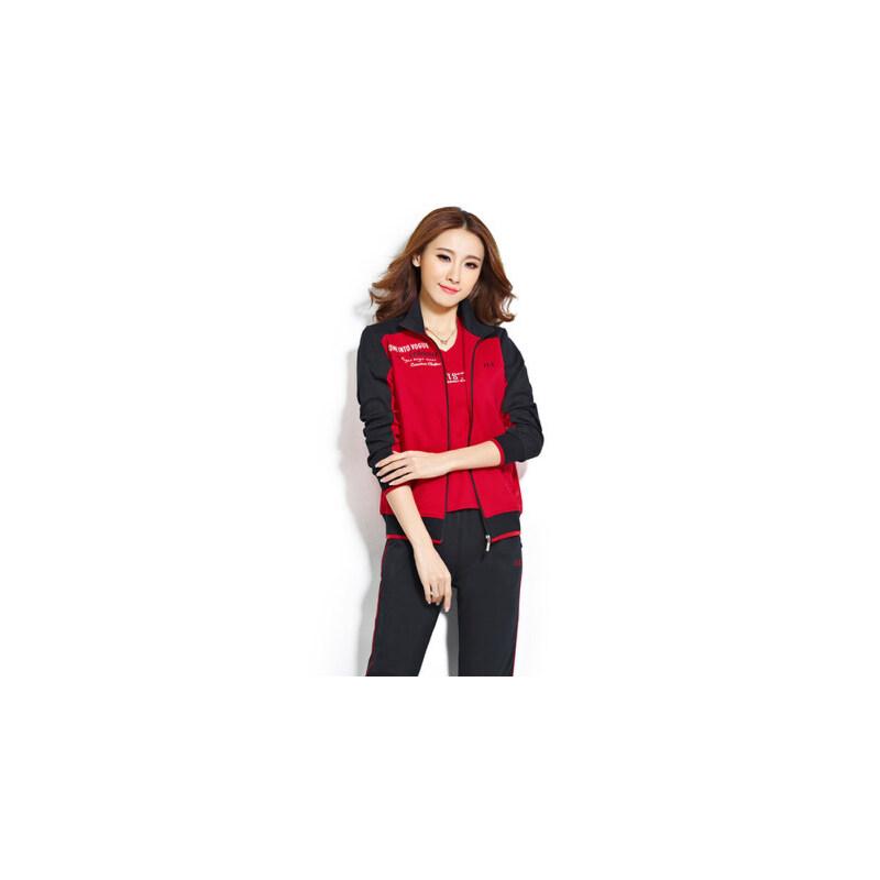 休闲运动套装女士运动服中年大码女装大码广场舞显瘦拼色三件套 品质保证 售后无忧 支持货到付款