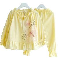 女童睡衣套装薄款全棉长袖纯棉母女亲子家居服原创绣花两件套