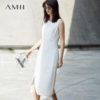 Amii[极简主义]高腰无袖连衣裙女2017秋装新款纯色显瘦中长款